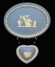 Wedgwood 2 pc Oval Blue Tray And Blue Heart-Shaped Trinket Dish