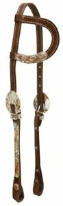 Showman One Ear Headstall With Silver Engraved Buckles & Engraved Copper Cheeks!