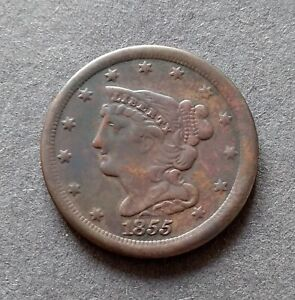 1855 Braided Hair Half Cent USA