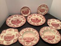 8 PC JOHNSON BROS MADE IN ENGLAND OLD BRITAIN CASTLES PINK ENGLAND  Please Read
