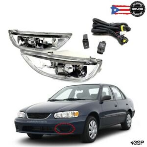 For 2001-2002 Toyota Corolla JDM Fog Lights Driving Lamps Clear Left Right Set