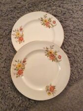 VINTAGE TWO WEATHERBY HANLEY FALCON WARE YELLOW & RED FLOWER SMALL DINNER PLATE