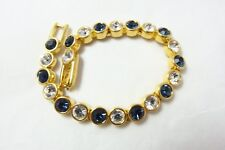 Sign 'MOD' Pre-loved Gold-tone Blue & Clear Rhinestone Costume Tennis BRACELET
