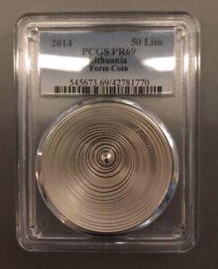 """---TOP POP---2014 Lithuania 50 Litu """"FORM"""" --PCGS PR69--Last Litas coin!!!!!!"""