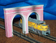 N Scale Dual Track Dual Portal Tunnel Portal - Brick