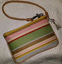 COACH WRISTLET Pastel Stripes with Natural Leather Strap & Trim NICE!!