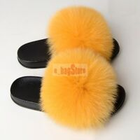 Women's Fluffy Real Fox/Raccoon Fur Slippers Indoor Outdoor Flat Summer Slides