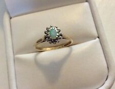 Lovely Ladies Vintage London 1961 Solid 9CT Gold Pretty Diamond & Opal Ring  M
