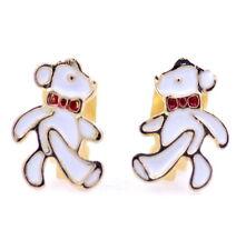 Gold tone enamel teddy bear clip on earrings