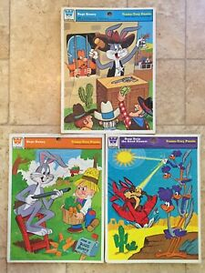 3 WHITMAN FRAME-TRAY PUZZLES Looney Tunes Bugs Bunny Coyote Road Runner Elmer