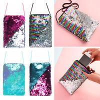 Sequins Messenger Bag Girls Shiny Mini Shoulder Bag Keys Holder Earphone Storage