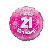 Happy 21st Birthday Holographic Pink Foil Balloon 45 cm (18 inch) Party Decor