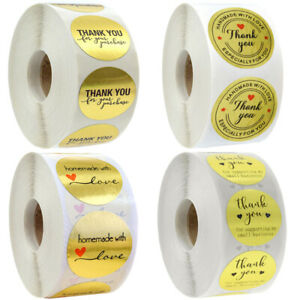 Gold Thank You For Your Purchase Stickers Handmade With Love Round Seals Labels
