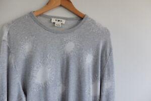YMC pullover Sweater Cotton crew-neck grey L pattern print