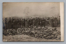 WW1 Real Photo RPPC Antique Postcard MANY DEAD German Russian UNIFORM SOLDIERS