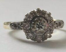 Antique 18ct Gold Diamond Art Deco Platinum Daisy Ring 1920s