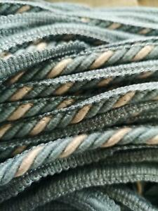 10 METERS OF 8MM FLANGED CORD/ROPE PIPING BLUE AND SILVER HT 00
