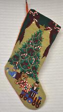 "Beaded NEEDLEPOINT Christmas STOCKING Tree PRESENTS Toys GREEN Burgundy 21"" EUC"