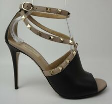 Valentino Garavani Rockstud Peep Toe Sandal Black Beige Leather Shoes Size 40
