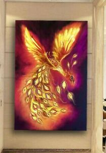 Art Firebird print, Original bird print, Large Painting with firebird, Wall Art