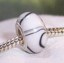 White Black Stripe Pattern Acrylic Bead for Silver European Style Charm Bracelet