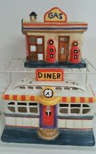 Ceramic village gas station and dinner for train or village display