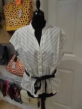 GEORGE Blouse NWT White/Black Pinstriped Cap Sleeve with Tie Waist UK Size 20