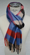 HEMLEY - SCARF - CASHMERE WOOL - BLUE RED SAND BLACK PURPLE grey checked - NEW