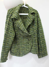 Per Una Size 20 M&S Wool Mix Tweed Green Jacket Cardigan Check Vintage Style