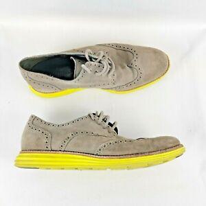 Cole Haan Men's Shoe Lunargrand Wingtip Size 10M Gray Oxford  Lace Up Yellow