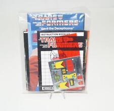 Kup Decal Sticker Sheet PACKET G1 Transformers 1986 Vintage Hasbro