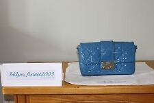 BRAND NEW AUTH DIOR NEW LOCK POUCH PATENT - LIGHT BLUE (COBALT CLAIRE - M594)