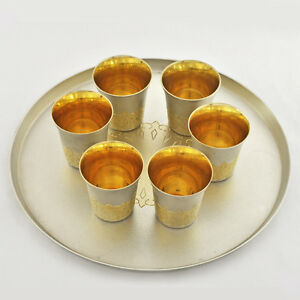 Vintage Beautiful 1960s Russian Parcel -Gilt 875 A Set of 6 Vodka Cups with Tray