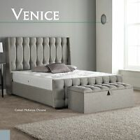 Venice High Quality Fabric Bed 3FT 4FT6 5FT 6FT Headboard + Colour Options
