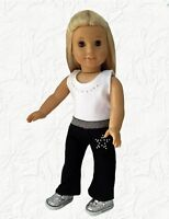 Doll Clothes Yoga Dance Outfit Black and White Fits 18 inch American Girl