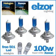 H7 100w Super White Xenon Upgrade Headlight Bulbs Set 499 12v + 501 Sidelights