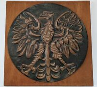 Vintage Hammered Copper Polish Eagle Wood Wall Plaque Poland NOS