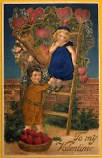 Embossed Valentine Postcard Silk Applied Clothing on Children Harvesting Hearts