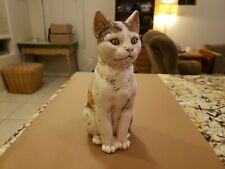 Vintage Realistic Hand Painted Ceramic Pottery Calico Cat 11 inches tall 1986