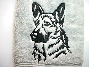 GERMAN SHEPHERD DESIGN, EMBROIDERED HAND TOWEL, SILVER TOWEL