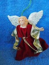 Vintage Angel With Red Velvet Dress Christmas Ornament
