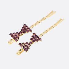 Bobby Pin Rhinestone Crystal Hair Clip Hairpin Bow Wedding Bridal Purple 11-5