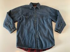 WOLVERINE BOOTS Denim Fleece Lined Button Front Shirt Jacket Blue Large