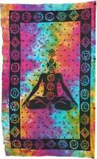 """Large Colorful Tie-Dye Seven Chakra Seated Lotus Pose Meditation 54x86"""" Tapestry"""
