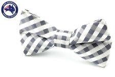 Men's Bow Tie Grey White Gingham Wedding Ties Groomsmen Pre Tied Grey Bow Ties