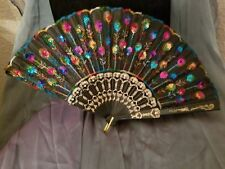 Multi-Colored Embroidered Handheld Chinese Japanese Fan Sequins Party Bridal Us
