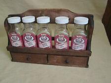 Vintage Watkins Spice Jars with Wood Rack with Drawers