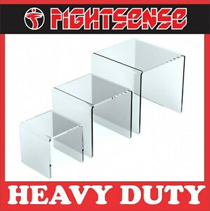 FIGHTSENSE 2 Set Acrylic Risers Display for Funko POP Figures,Clear Cake Stands