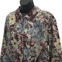Westbound II Tapestry Print Stretch Jacket Womens Sz 2X Button Front Trucker
