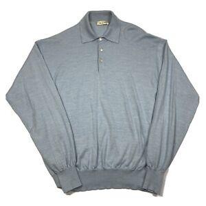 Vintage Peter Millar Mens XL Blue Long Sleeve Polo Shirt